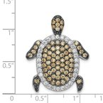 Quality Gold Sterling Silver White & Champagne CZ Turtle Slide
