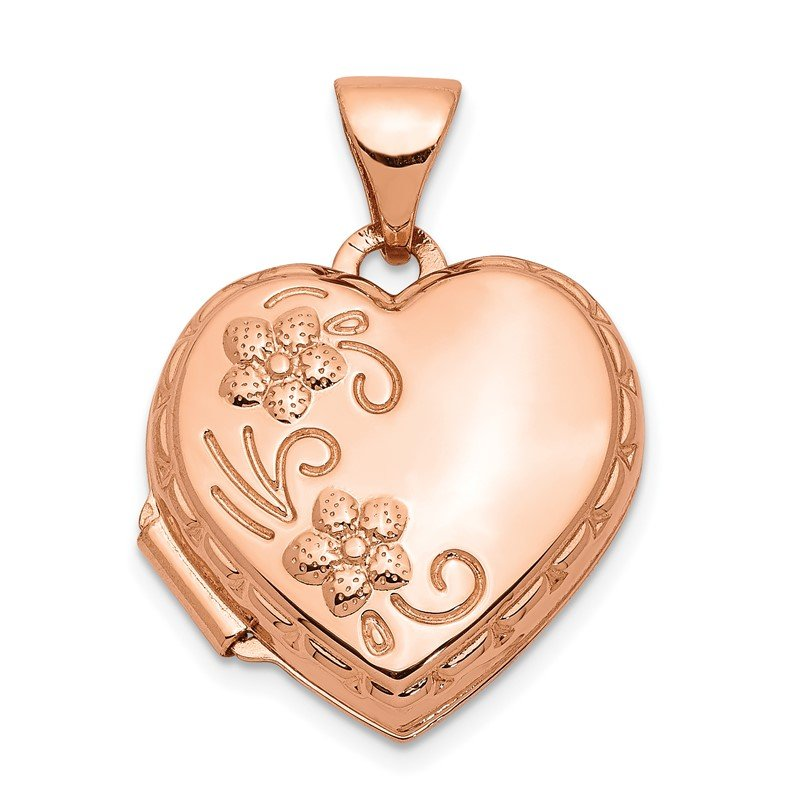 Quality Gold 14k Rose Gold 15mm Reversible Heart Locket