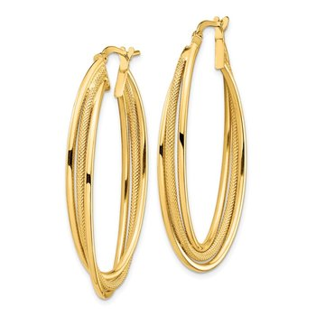 14k Polished & Textured Twisted Fancy Oval Hoop Earrings