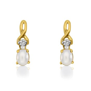 14k Yellow Gold Oval Freshwater Cultured Pearl and Diamond Earrings