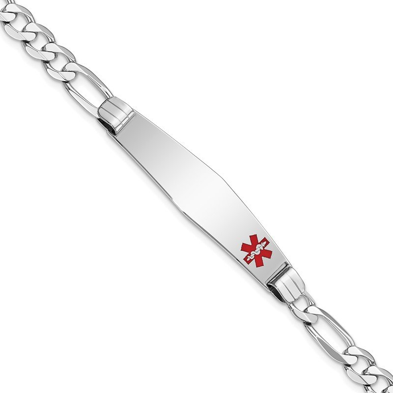 Quality Gold 14K WG Medical Soft Diamond Shape Red Enamel Figaro Link ID Bracelet