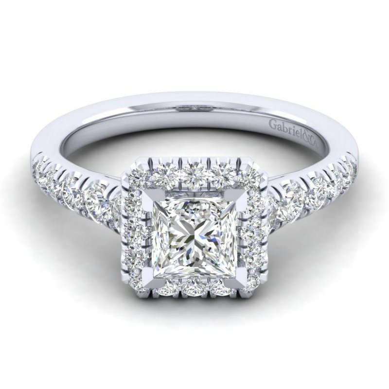 Gabriel Bridal Top Picks 14K White Gold Princess Halo Diamond Engagement Ring