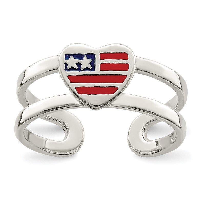Quality Gold Sterling Silver Enameled Flag Heart Toe Ring