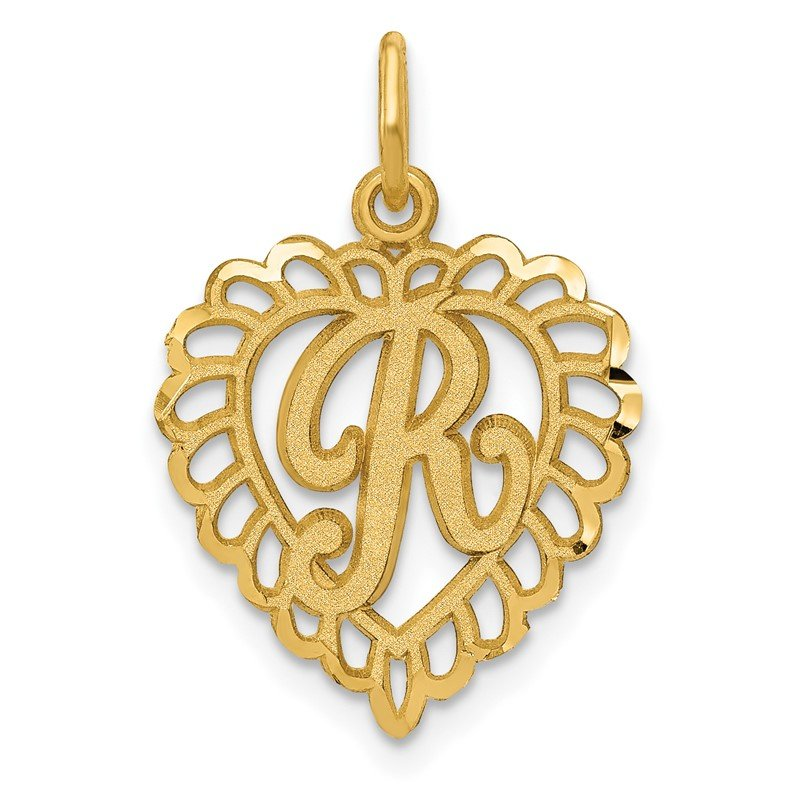 Quality Gold 14k Heart Letter R Charm