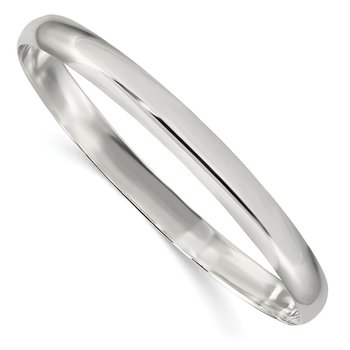 Sterling Silver 6.25mm Solid Polished Plain Slip-On Bangle Bracelet
