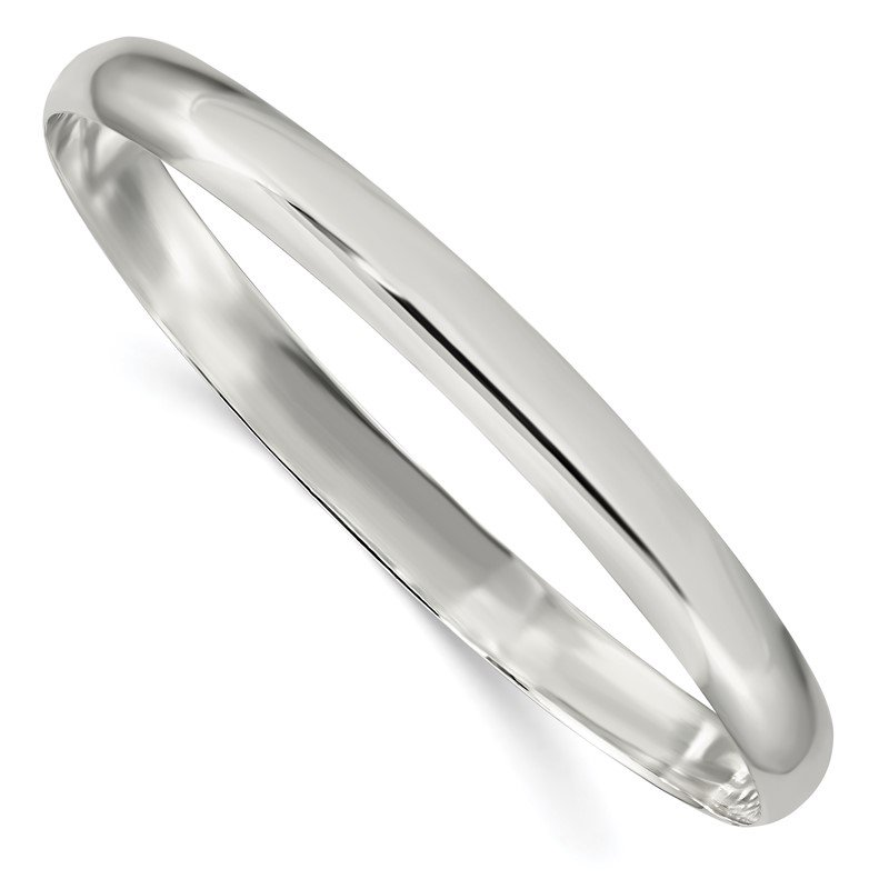 Quality Gold Sterling Silver 6.25mm Solid Polished Plain Slip-On Bangle Bracelet