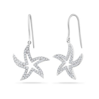 14K SMALL OPEN DANGLING STARFISH EARRINGS 102 DIAMONDS 0.40CT