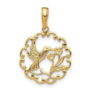 14K Hummingbird w/Flower in Frame Pendant