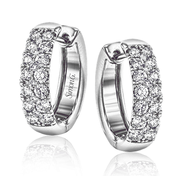 Simon G 18kt white gold diamond huggies, 40=1.07ct. Available at our Halifax store.