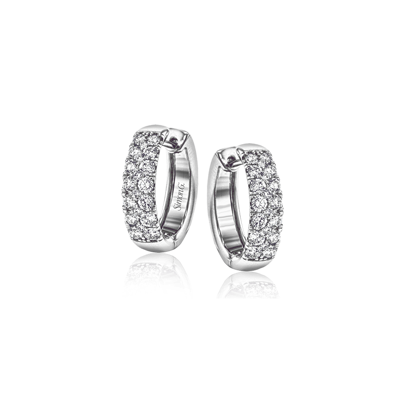 Simon G Simon G 18kt white gold diamond huggies, 40=1.07ct. Available at our Halifax store.