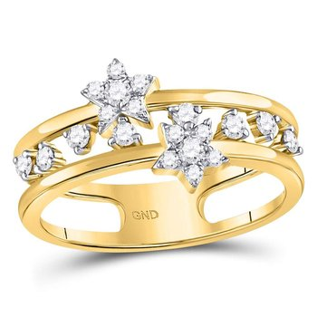 14kt Yellow Gold Womens Round Diamond Open Double Star Band Ring 1/3 Cttw