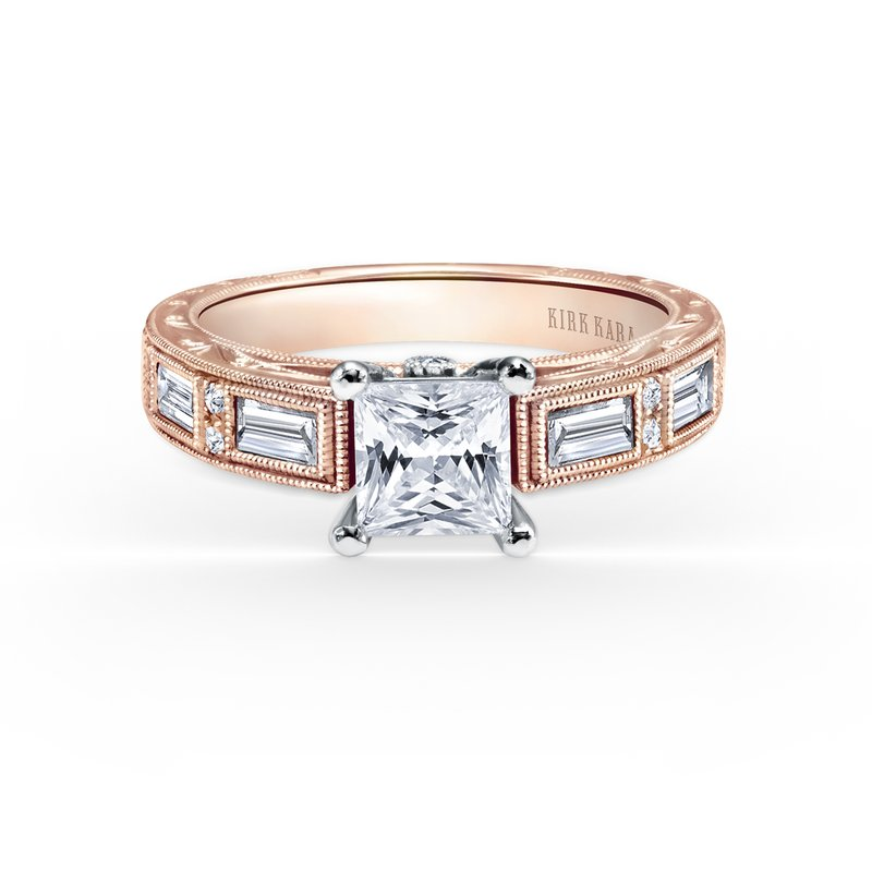 Engraved Baguette Diamond Engagement Ring