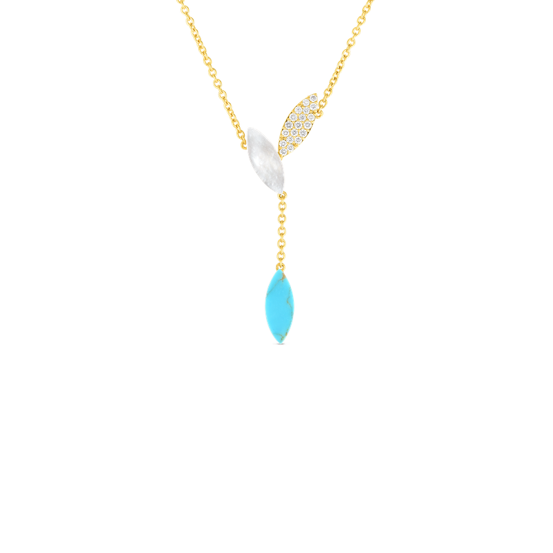Roberto Coin 18Kt Gold Petal Pendant With Diamonds, Mother Of Pearl And Turquoise