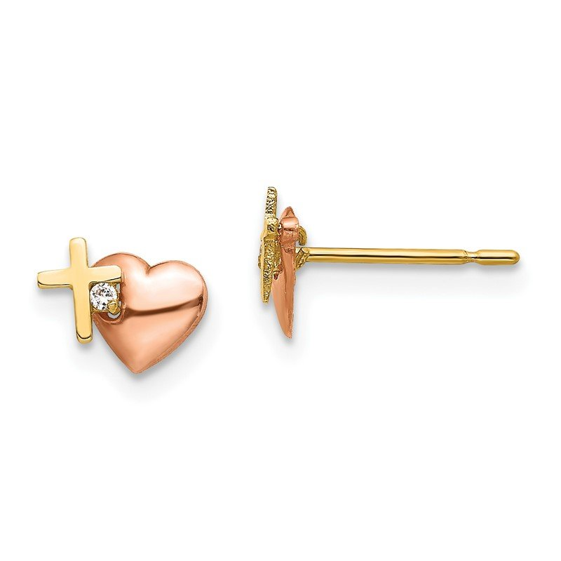 Quality Gold 14k Yellow & Rose Gold Madi K CZ Heart and Cross Post Earrings