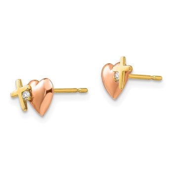 14k Yellow & Rose Gold Madi K CZ Heart and Cross Post Earrings