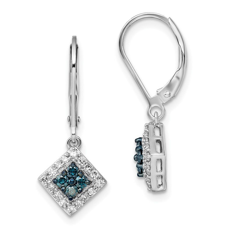 Quality Gold Sterling Silver Rhod Plated White & Blue Diamond Leverback Earrings