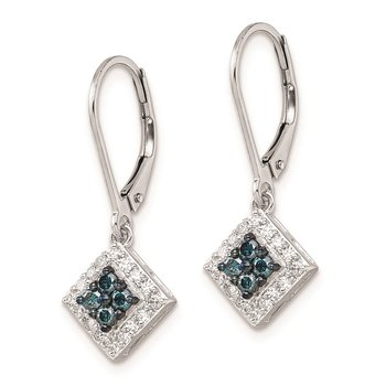 Sterling Silver Rhod Plated White & Blue Diamond Leverback Earrings