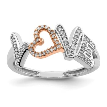 Sterling Silver Rhodium & 14k Rose Gold Plated Diam.s LOVE Ring