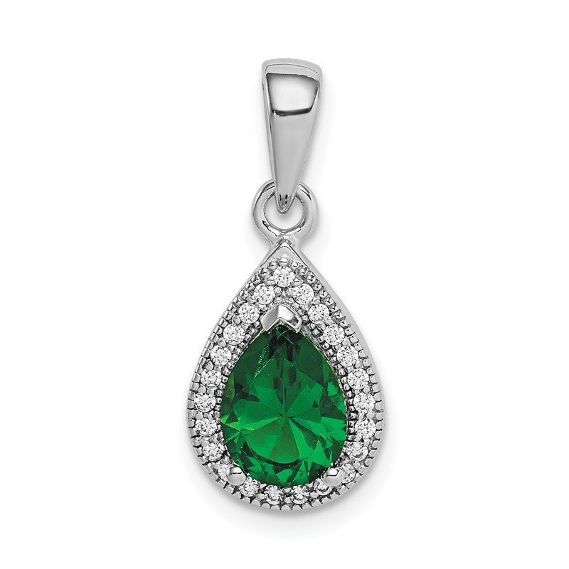 Quality Gold Sterling Silver Rhodium Plated Green and Clear CZ Pendant