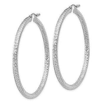 Sterling Silver Rhodium-plated D/C 3x50mm Hoop Earrings