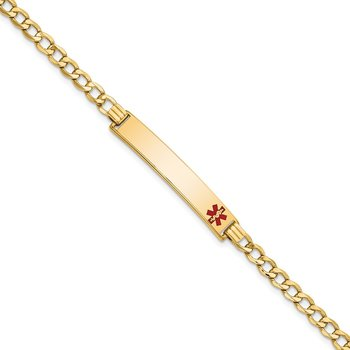 14K Semi-solid Medical Red Enamel Curb Link ID Bracelet