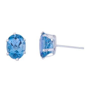Sterling Silver Oval Blue Topaz Stud Earrings