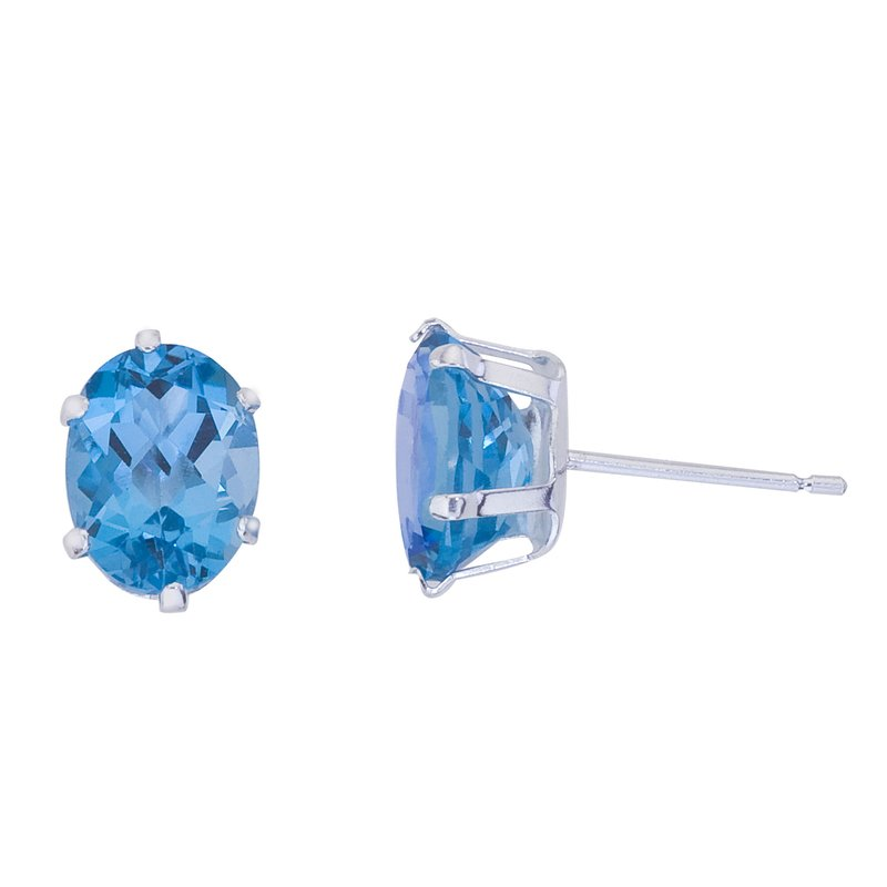 Color Merchants Sterling Silver Oval Blue Topaz Stud Earrings