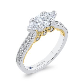 18K Two-Tone Gold Marquise Diamond Engagement Ring (Semi-Mount)