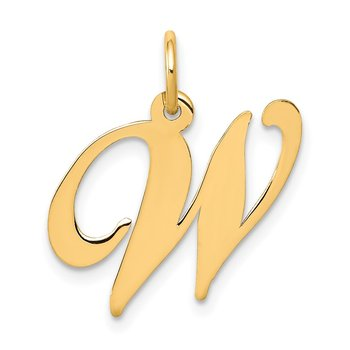 14K Medium Fancy Script Letter W Initial Charm