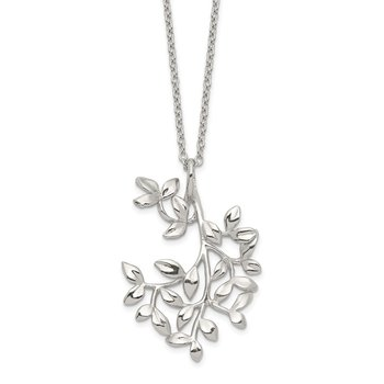 Sterling Silver Polished Leaf Necklace