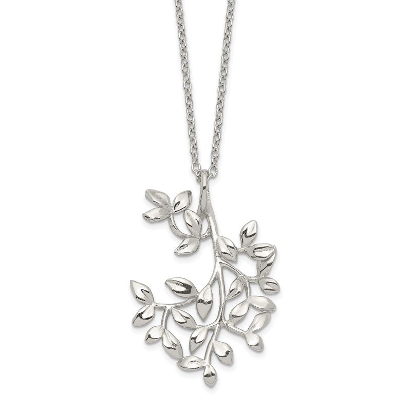 Quality Gold Sterling Silver Polished Leaf Necklace