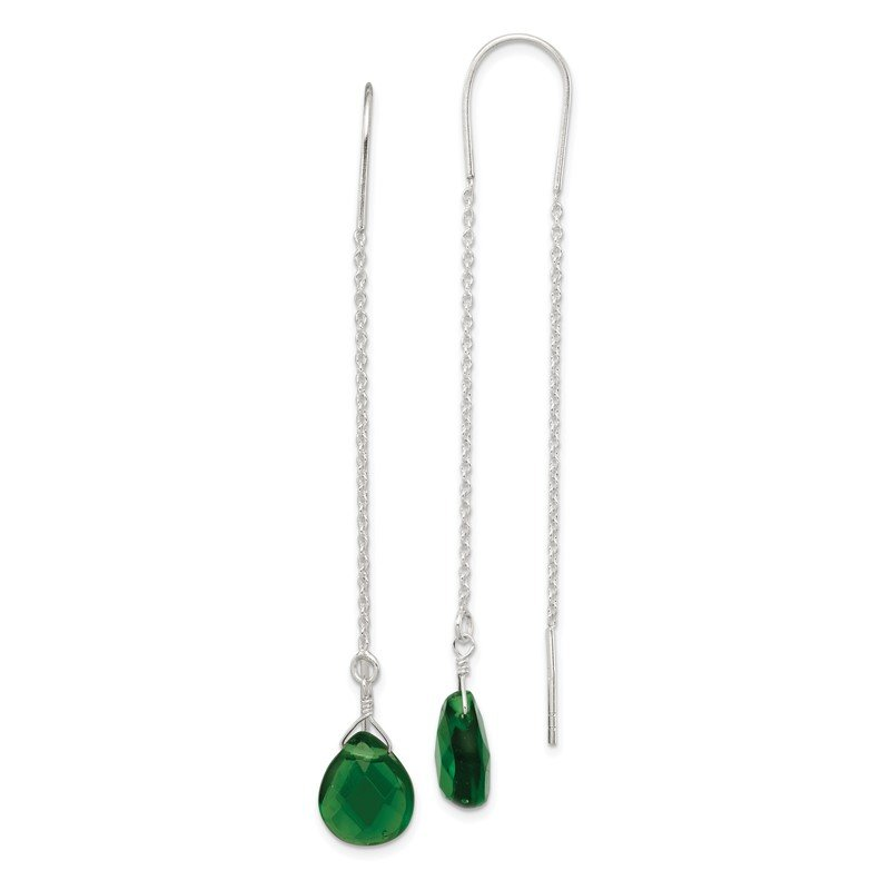 Quality Gold Sterling Silver Pear Shaped Dark Green CZ Threader Earrings