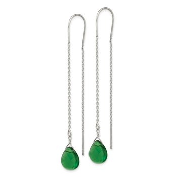 Sterling Silver Pear Shaped Dark Green CZ Threader Earrings