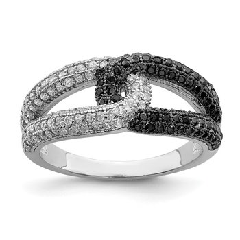 Sterling Silver Rhodium-plated Black & White CZ Ring
