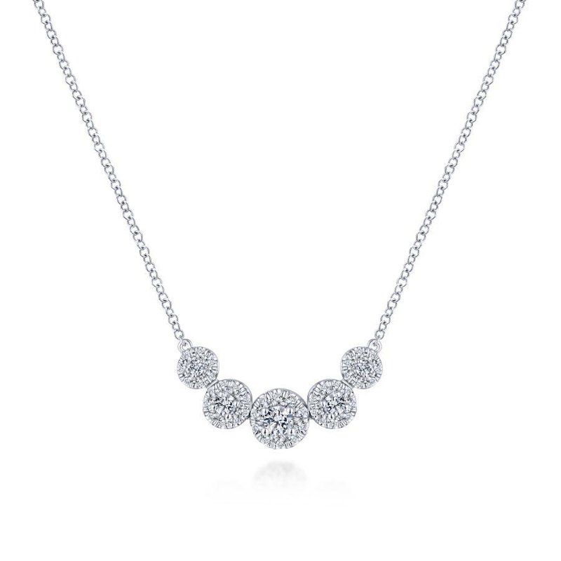 Gabriel Fashion 14K White Gold Round Diamond Halo Necklace