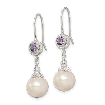 Sterling Silver Amethyst FW Cultured Pearl Dangle Earrings
