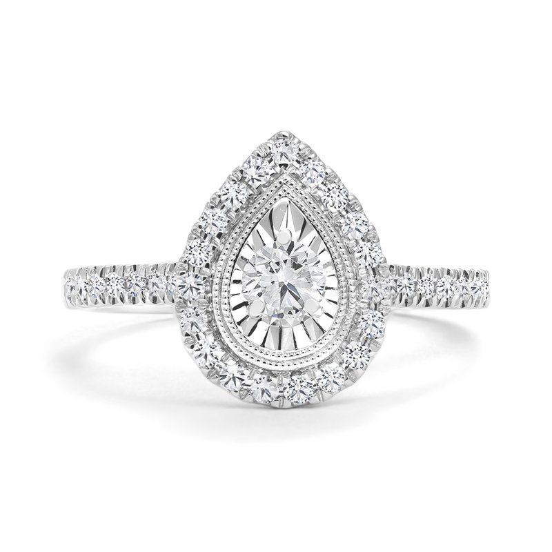 Pear Design Halo Engagement Ring