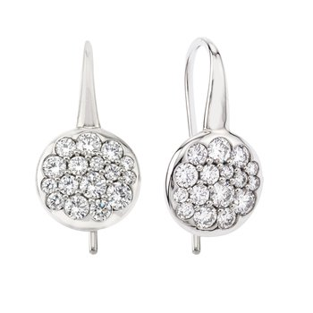 White Gold Tango Button Earrings