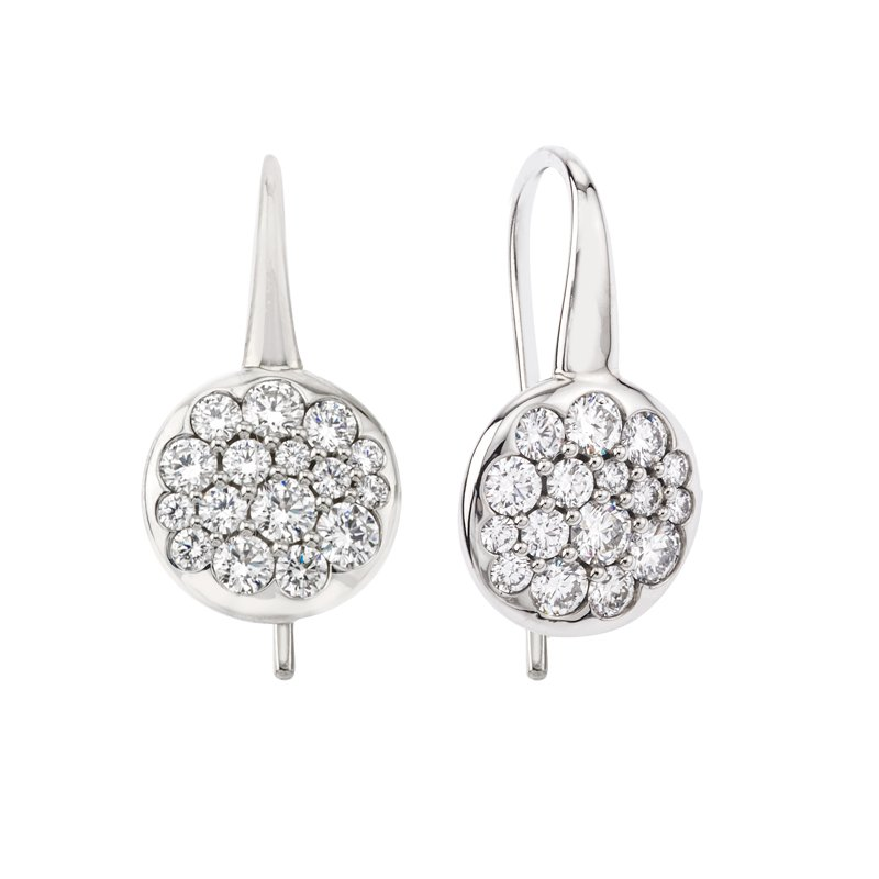 Mark Patterson White Gold Tango Button Earrings