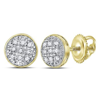 10kt Yellow Gold Mens Round Diamond Circle Cluster Stud Earrings 1/20 Cttw
