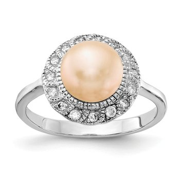 Cheryl M Sterling Silver Rhodium Plated CZ & Pink FWC Pearl Ring