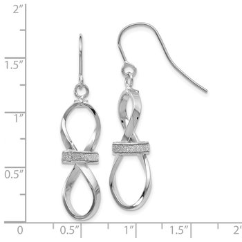 Leslie's 14k White Gold Polished Glitter Infused Dangle Earrings