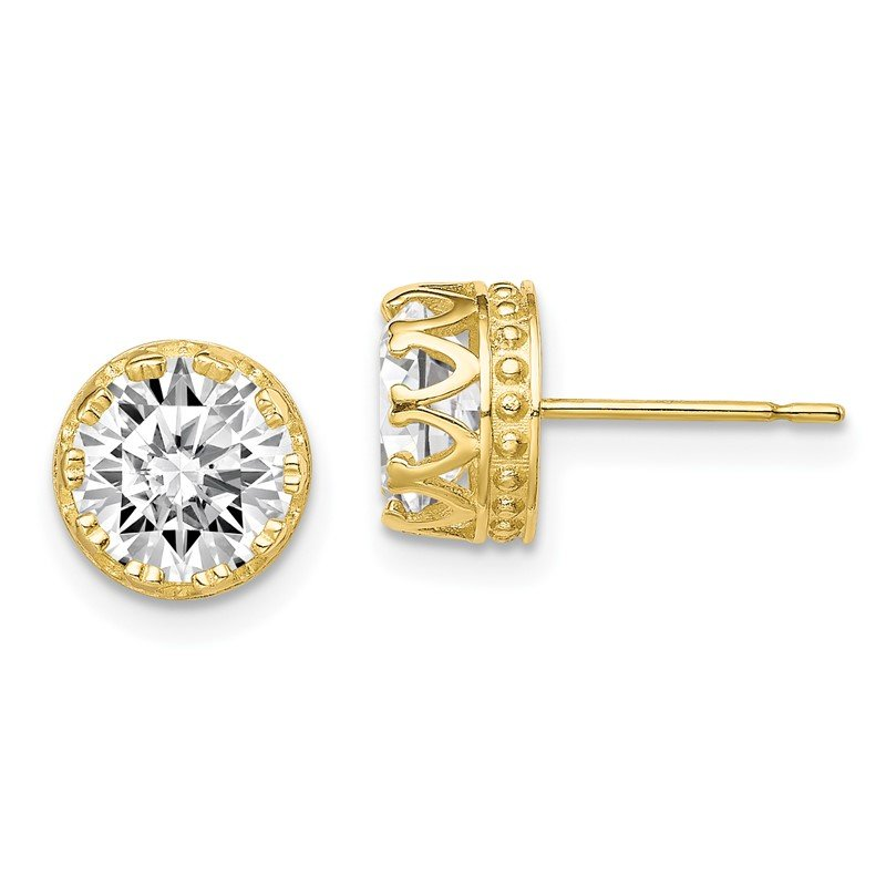 Quality Gold 10k Tiara Collection 8mm Polished CZ Earrings