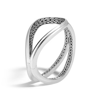 Asli Classic Chain Link Hinged Cuff in Silver