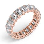 MAZZARESE Bridal 18k Rose Gold Emerald Cut Eternity Band