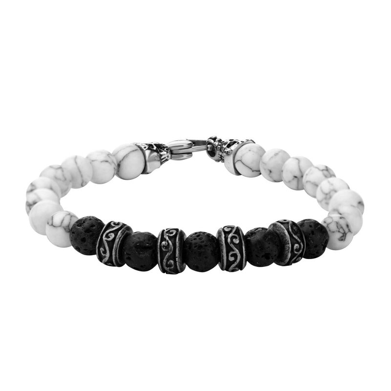 INOX 8mm Black Lava and White Howlite Beads Bracelet