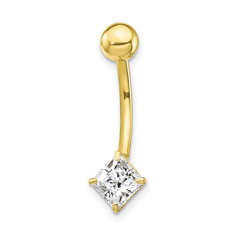 Quality Gold 10k W/5mm Square Cz Belly Dangle