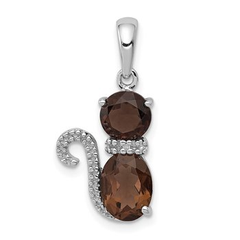 Sterling Silver Rhodium-plated Smoky Quartz and Diamond Pendant