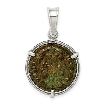 Sterling Silver Ancient Coins Antiqued Bronze Constantine I Coin Pendant
