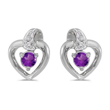 14k White Gold Round Amethyst And Diamond Heart Earrings